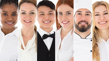Headshots of wait staff, bartenders, chefs, housekeepers.